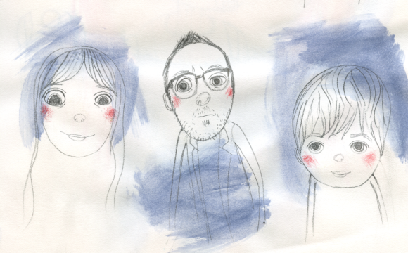 Sketchbook Tuesday: faces with blue paint