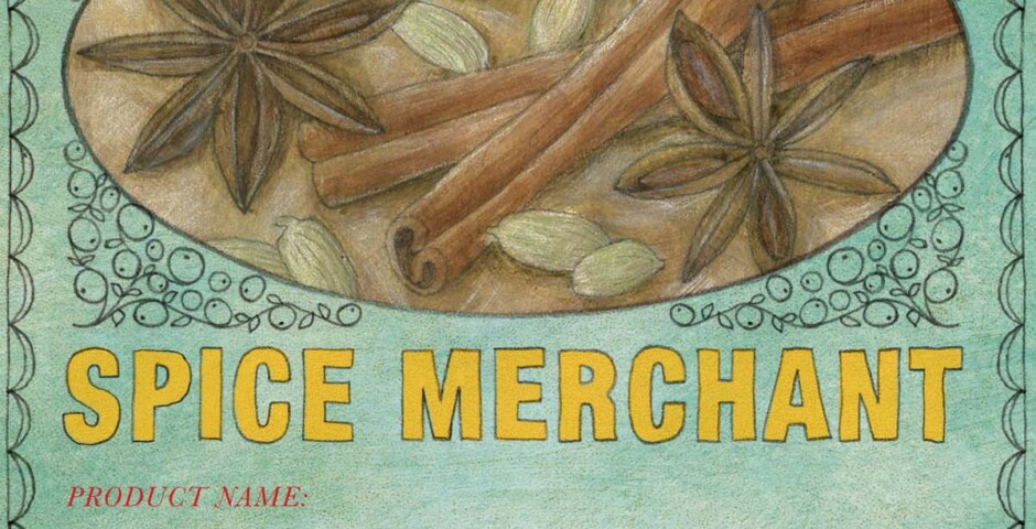 Illustration, lettering & design for label - Silk Road Spice Merchant